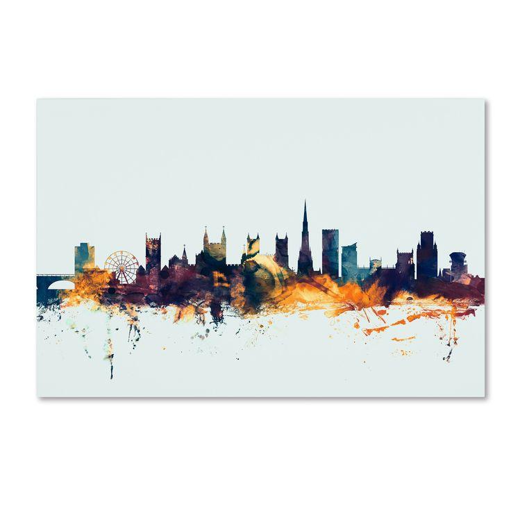 Michael Tompsett 'Bristol England Skyline Blue' Canvas Art