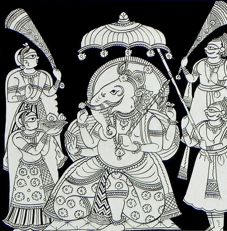 The Adored elephant Headed God Ganesha - Phad Painting on Cloth - Unframed picclick.com