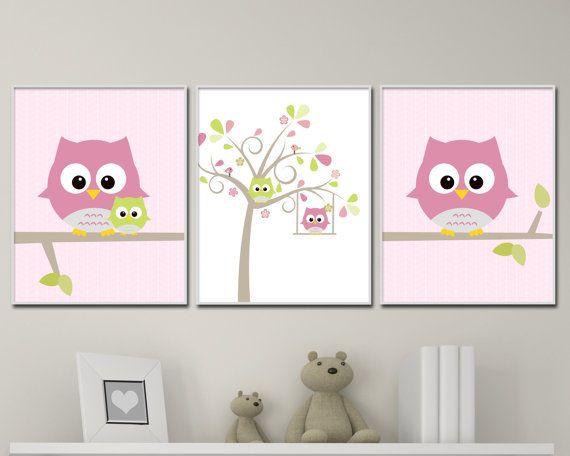 Chouette maternelle mur imprimé chouette et arbre par HopAndPop