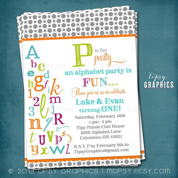 P is for Party. ABC Colorful Alphabet Birthday Party Invitation.  Any colors and text by Tipsy Graphics