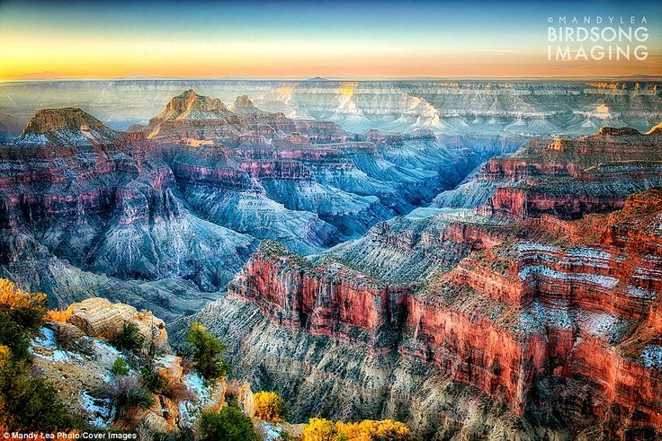 After plucking up the courage to quit her job, Mandy then decided to purchase a teardrop trailer that she saw while passing by a RV dealership, explaining that it 'simply called' to her. Above, sunrise at the Grand Canyon