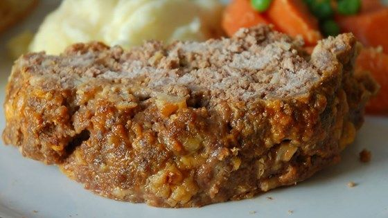 Meatloaf with cheese, onion soup mix, steak sauce (Worcester sauce)and crushed buttery round crackers.