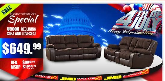 JMD Furniture's Fourth of July sale is happening Right Now! This brown reclining sofa and love seat is only $649.  #JMDFurniture #Sofa #Loveseat #Recliner #4thOfJulySale