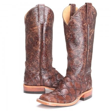 PFIs BootDaddy Collection with Anderson Bean Womens Big Bass Tooled Cowgirl Boots Chocolate