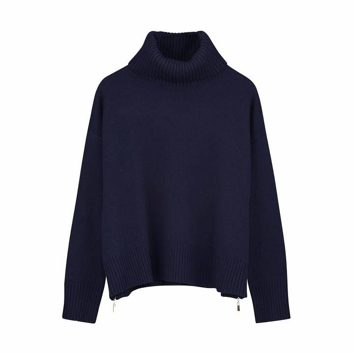 Ille De Cocos - Side Zip Roll Neck Sweater Navy
