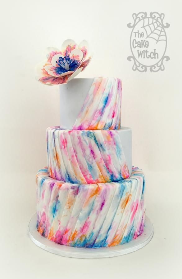 Watercolour Wedding by Nessie - The Cake Witch - http://cakesdecor.com/cakes/257738-watercolour-wedding