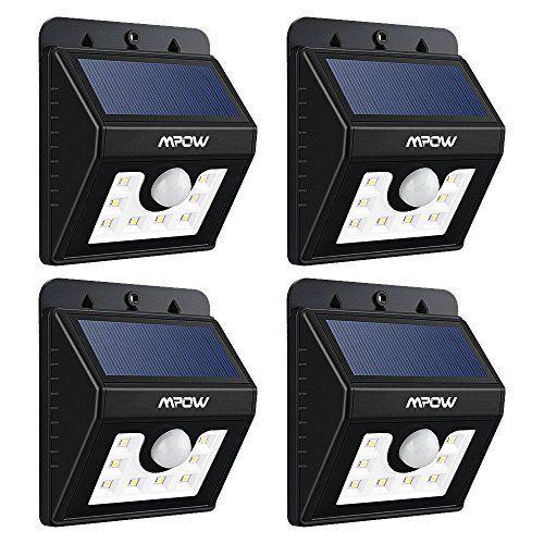 [4 Pack] Mpow Lampe Solaire LED Etanche Faro Lumiere 8 LED/ Luminaire exterieur Sans Fil avec Détecteur de Mouvement/ Eclairage exterieur…