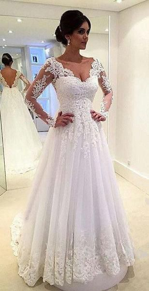 Princess Lace Appliqued Wedding Dresses,Long Sleeves Wedding Gowns,Sweep Train White Bridal Gowns