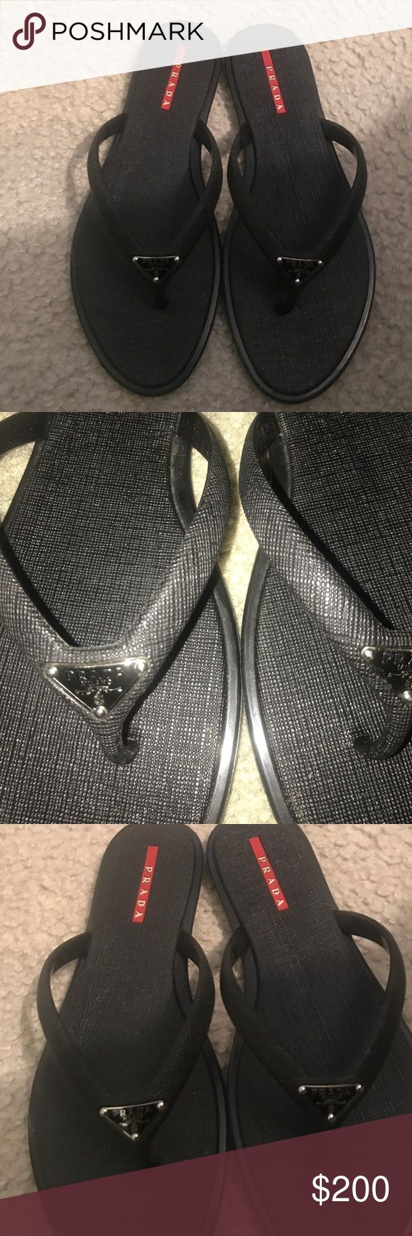 Prada Black Prada flip flop no sign of wear Prada Shoes Sandals