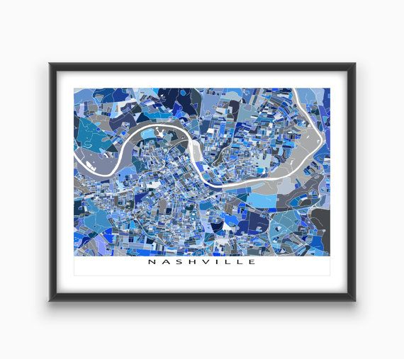Nashville city map - with a modern, abstract art design made from of lots of little blue shapes. The shapes are actually a city blocks or pieces of land. They combine like a puzzle or mosaic to form this #Nashville map. #NashvilleMap #NashvilleArt