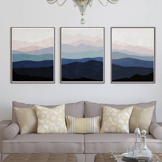Abstract Landscape Three Prints Blue Pink Wall Art Abstract Mountain Indigo Art Downloads Mountains Poster Trio Art