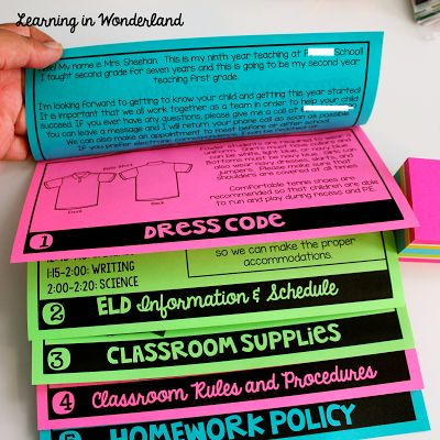 Post loaded with ideas to include in a BTS flip book for Meet the Teacher!