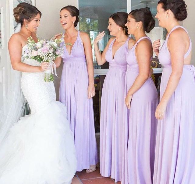 Can this bridal party be any more perfect. Dresses shipped to QLD for this beautiful bride. We ship worldwide. Zeredah Convertible Dresses available in Perth at Nora and Elle Bridesmaids.