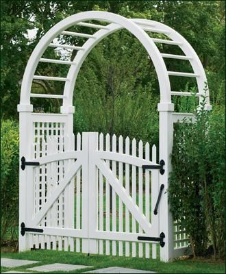 5' Vinyl Spindle Top Arbor - Light and airiness is captured by this inviting 5' wide Spindle Top arbor. The accompanying Freeport Nantucket double picket gate offers a touch of the unexpected in its gently curving hexagonal shape. Our Freeport Collection is crafted with solid cellular vinyl.