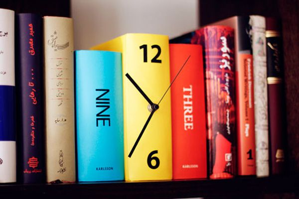 Book Clock - An ingenious clock made of books on a shelf, the numbers printed on the spines while the clock itself is embedded in the central book. This will be immediately added to the Colossal headquarters project list. I'm not sure who to credit for the clock itself, but the photo was taken at a client's home by Shokoofeh Z.Dezfuli. (via razorbladesalvations)