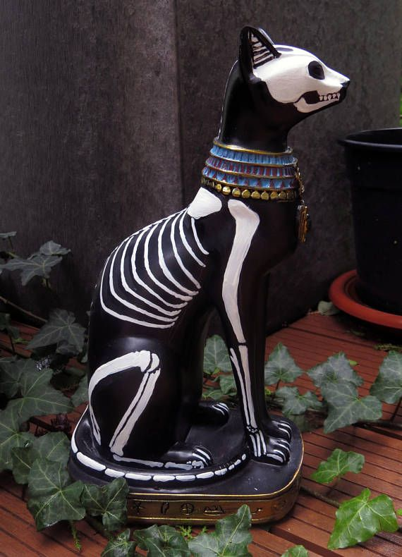 Egyptian skeletron cat Egyptian statuette  dia de los