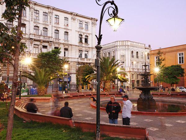 Plaza Echaurren.  Centuries-old buildings surround Plaza Echaurren, a central city square named after former Valparaíso Mayor Francisco Echaurren.