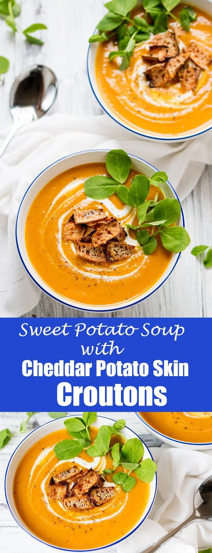 Baked sweet potato and carrot soup with cheddar potato skin croutons – A warming healthier soup. Gluten free & vegetarian.