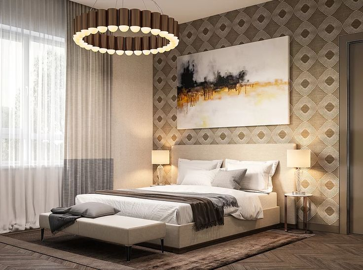 дизайн спальни, светлые тона, идея для спальни, светлая спальня, золотая спальня, визуализация спальни, 3D