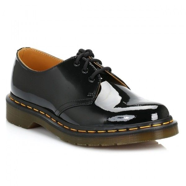 Dr Martens Womens Black 1461 Patent Leather Shoes ($98) ❤ liked on Polyvore featuring shoes, dr martens footwear, shiny black shoes, black patent leather shoes, black polishable shoes and eyelets shoes
