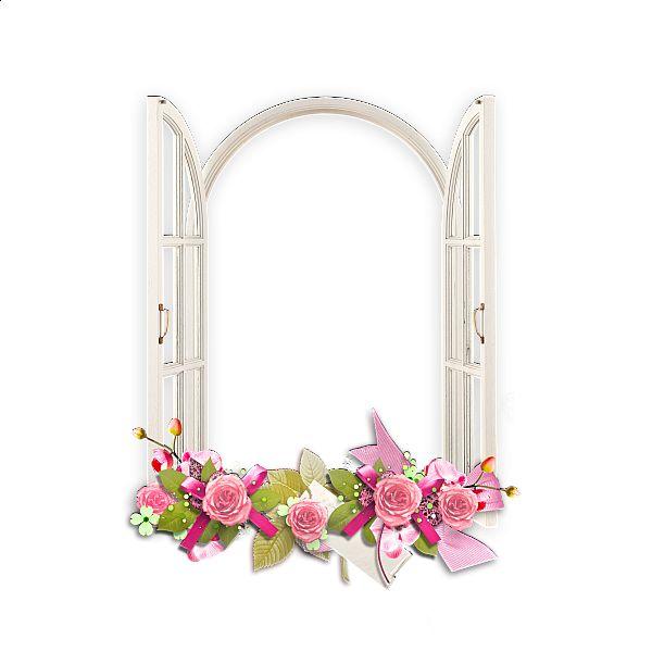 Окно с розовыми цветами Прозрачный кадр