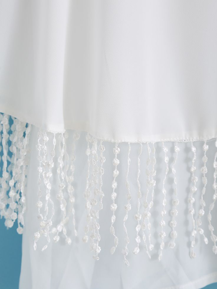 Blusa cuello redondo volantes flecos gasa -blanca-Spanish SheIn(Sheinside) Sitio Móvil