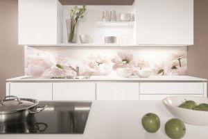 Kitchen splashback with flower motif from Nobilia kitchens.