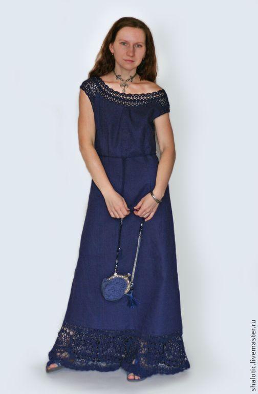 """Купить Льняное платье """"Темно-синяя ночь"""" - платье, платье льняное, сарафан, летний сарафан"""