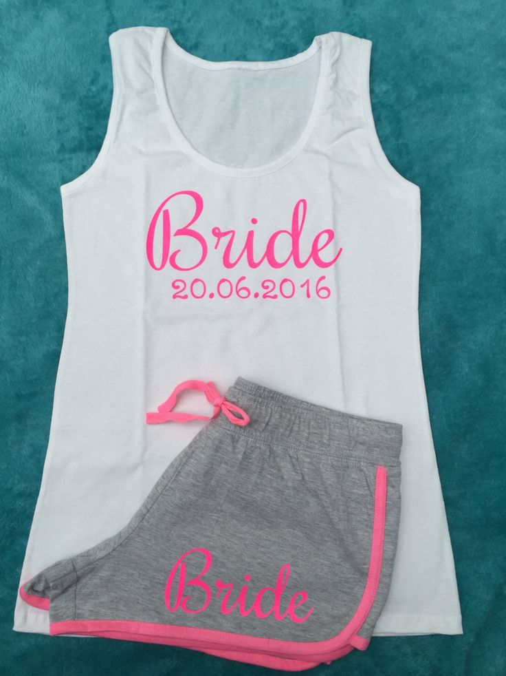 Bride pyjamas, bridesmaid gift, Bridal Party, Hen Weekend, PJs set, pyjamas set, grey neon pink shorts, tank top, bride vest top by personaliseddiamante on Etsy