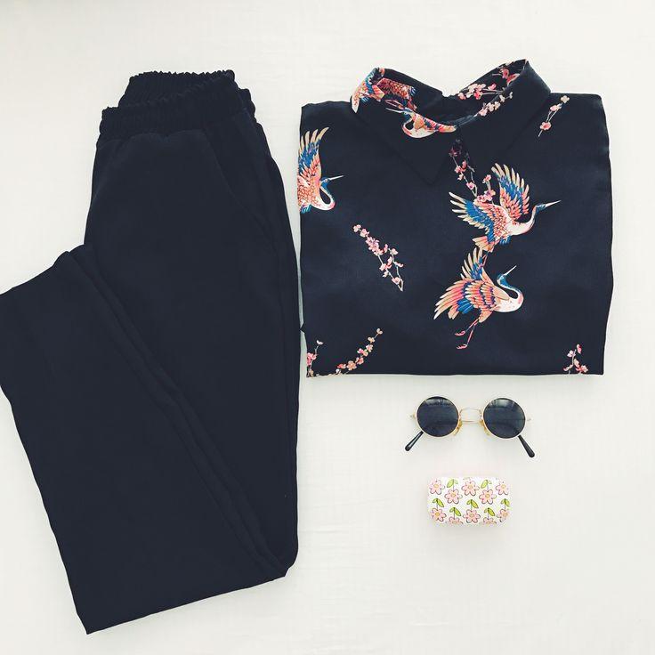 Silky shirt birds print back buttons black classic Office pants
