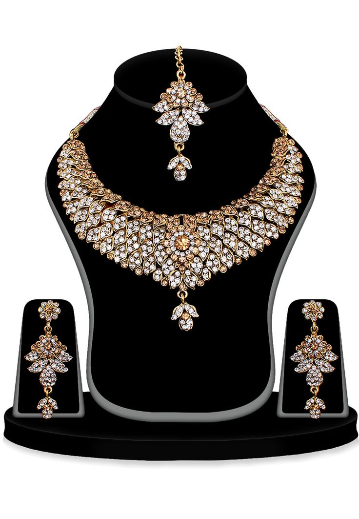 Buy Light Brown and White Stone Studded Necklace Set online, work: Stone, color: Light Brown / White, usage: Wedding, category: Jewelry, fabric: Others, price: $37.70, item code: JVM2016, gender: women, brand: Utsav
