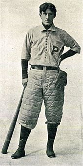 Future dentist and author of western stories Zane Grey, in baseball attire at the University of Pennsylvania, 1895.