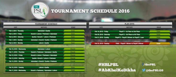Pakistan Super League Schedule