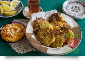 Zucchini and Chick Pea Fritters with Sweet Potato GArlic and Feta Hummus