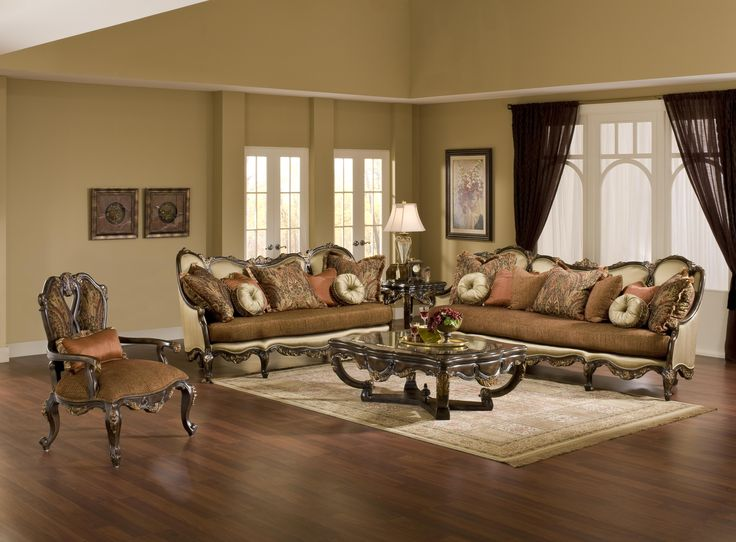 Buy the Abrianna Exposed Wood Antique Style Sofa Set online at Shop Factory…