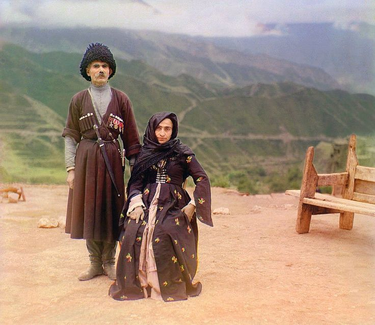Prokudin-Gorsky - 1907-1915: Russia Before the Revolution, in Color. ca. 1907-1915 A couple in traditional dress poses for a portrait in the mountainous interior region of Gunib on the north slope of the Caucasus Mountains in what is today the Dagestan Republic of the Russian Federation.