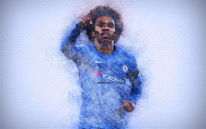 Download Wallpapers Willian, 4k, Artwork, Football Stars