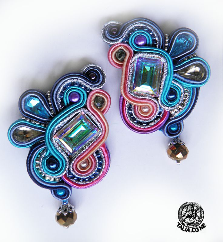 Blue&Pink soutache earrings