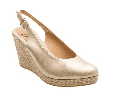 """The """"BCNA"""" slingback espadrille wedge with leather upper by Toni Pons SS17. Wedge height 9 cm (3.5″). 85 Euros on the Espadrilles Barcelona website. Also available in black suede."""
