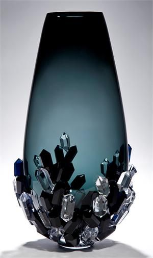 'Cristallized Vase' With infinite fascination for her chosen medium glass, Hanne's work explores its incredibly versatile nature; its optics, transparency and fragility. By working both with the glass in it's soft flowing state and in it's cold hard state to create forms and shapes that emphasise the purity and honesty of the material, celebrating it's qualities.