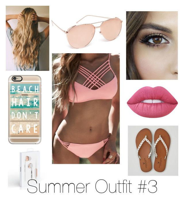 """""""Summer Outfit #3"""" by ania-kondrat on Polyvore featuring WithChic, Linda Farrow Luxe, American Eagle Outfitters, Casetify and Lime Crime"""