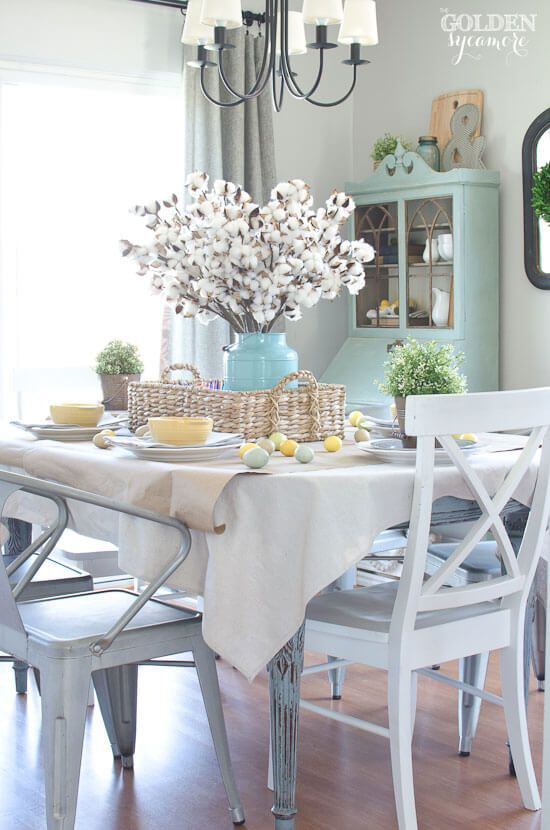 35 Rustic Farmhouse Spring Decor Ideas To Add A Unique Touch To Your Home This Season Dining Room Table Decor Dining Room Table Centerpieces Dining Table Decor