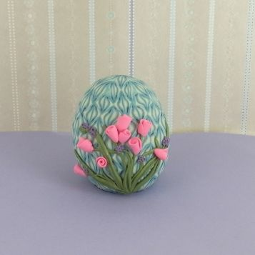 premo! Cane and Flower Embellished Egg | Polyform Products Company