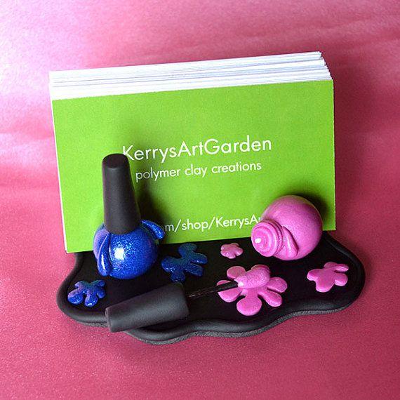 Pink & Blue Finger Nail Polish Polymer Clay by KerrysArtGarden, $27.00