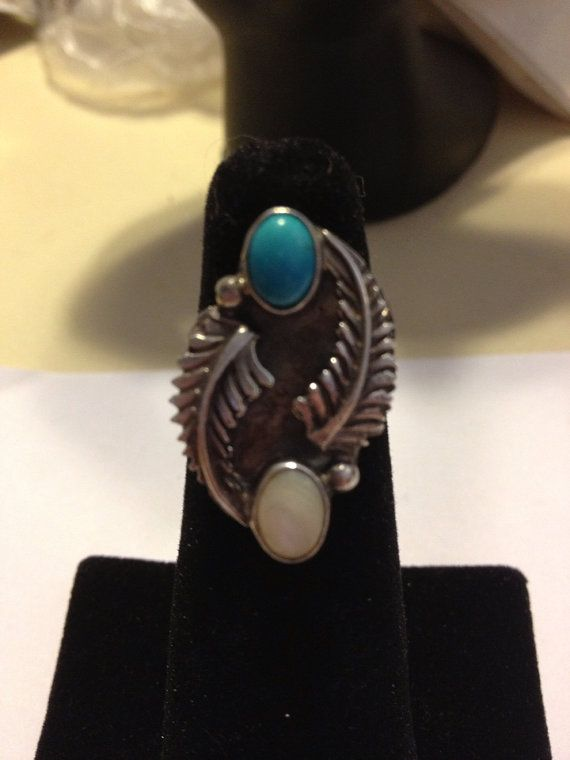 Navajo Turquoise MOP Ring Sarah Chee Sterling Silver Size 5.5 Blue Mother of Pearl 925 Vintage Native American Southwestern Tribal Jewelry on Etsy, $43.00