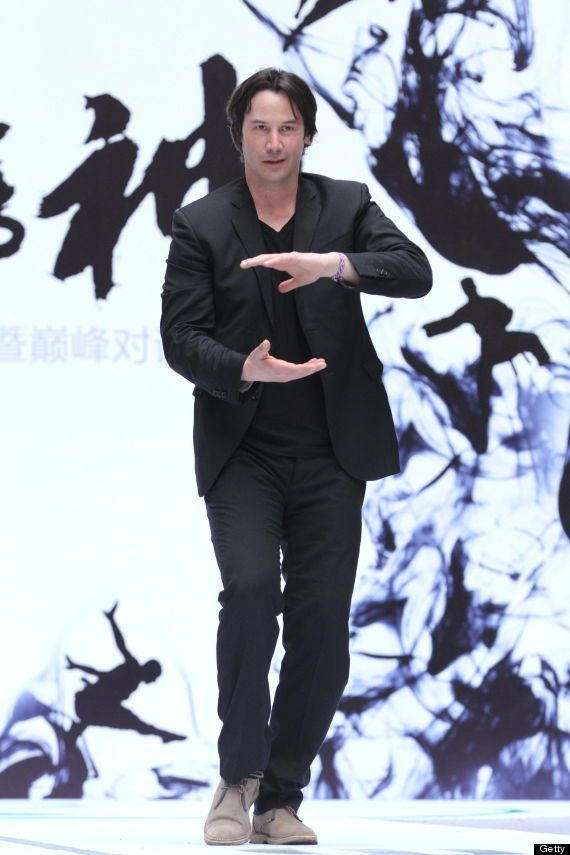 keanu reeves doing tai chi at Man of Tai Chi press conference
