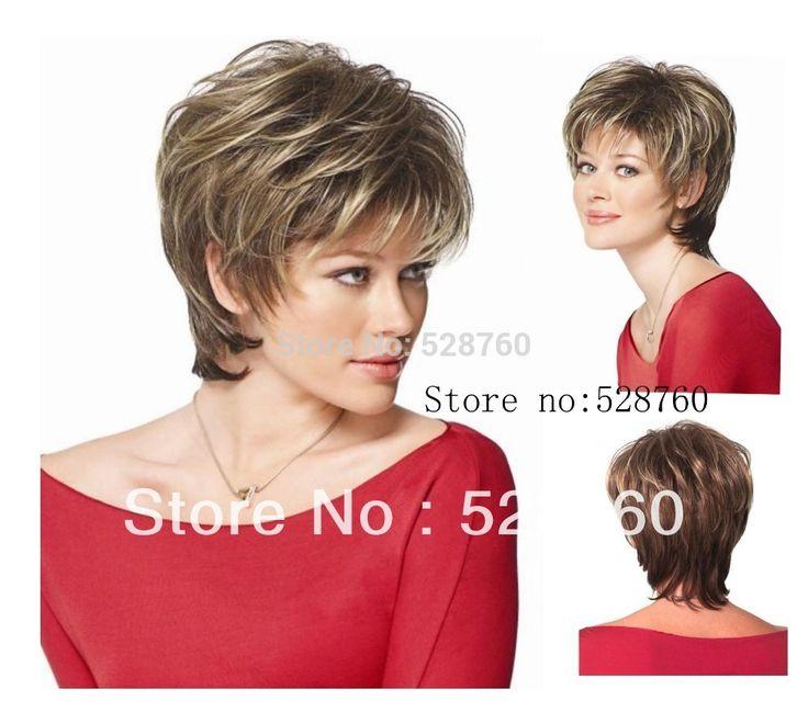女性の茶色と灰ブロンドミックスかつら短いストレートヘア耐熱繊維品質保証送料無料