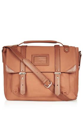 Price:$68.00 Item code:24B38ETAN Color:TAN   5.0 out of 5 Leather look satchel with front clear tab and crossbody strap. H:31cm W:32cm D:...