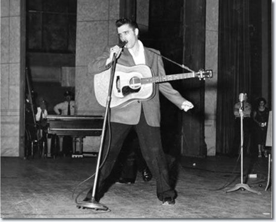 Elvis Presley : Ellis Auditorium Memphis, TN. : May 15 1956. More than 7,000 people jammed Ellis Auditorium on the night of May 15, 1956, to stomp, shudder, shriek and sigh as a young Elvis Presley writhed his way through a rock and roll repertoire. Presley was the blockbuster of Bob Neal's Cotton Picking Jamboree, a feature of Cotton Carnival opening night.