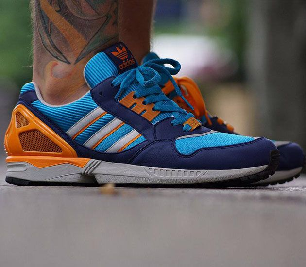 adidas Originals ZX 9000 - Turquoise / Metallic Silver - Orange